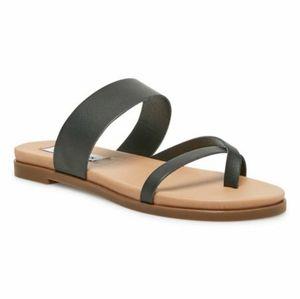Steve Madden Dario Black Leather Sandals Women 9 M